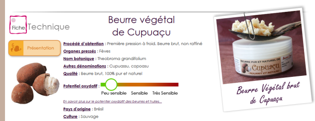 fiche technique aromazone beurre cupuacu
